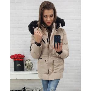 Béžová dámská bunda s černou kožešinou a s kapsami na zip a druky