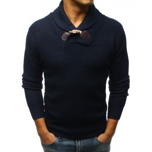 Moderní pánský pletený svetr v tmavě-modré barvě s hrubým límcem