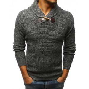 Šedý pánský svetr na volný čas s hrubým límcem a jedním knoflíkem
