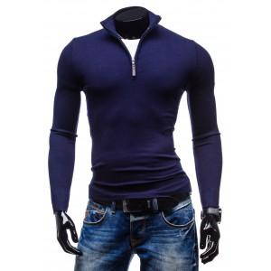 Trendy pánské svetry modré barvy se zipem