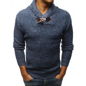 Modrý pánský svetr přes hlavu s hrubým límcem a designovým knoflíkem