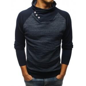 Tmavě-modrý pánský svetr v kombinaci dvou barev s vysokým límcem
