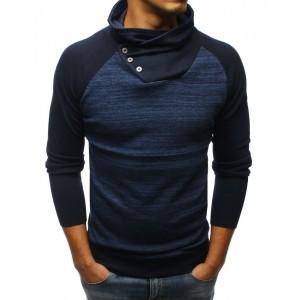 Trendy modrý pánský svetr s vysokým límcem a zapínáním na knoflíky