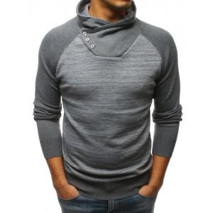 Šedý pánský svetr s originálním vysokým límcem na knoflíky