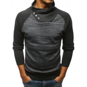 Sportovní pánský svetr přes hlavu v tmavě-šedé barvě