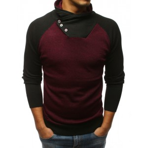 Pánský bordový svetr s vysokým límcem v kombinaci s černou barvou