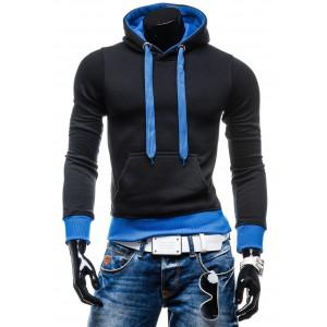 Mikiny s kapucí černo-modré barvy
