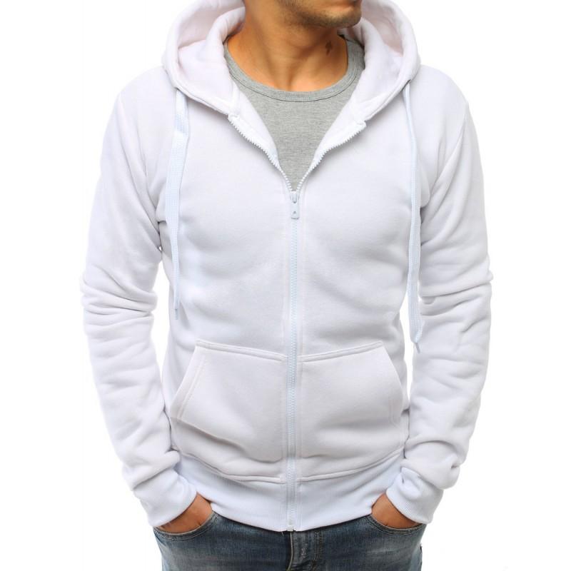 71332e1afae Stylová bílá pánská mikina na zip a s kapucí