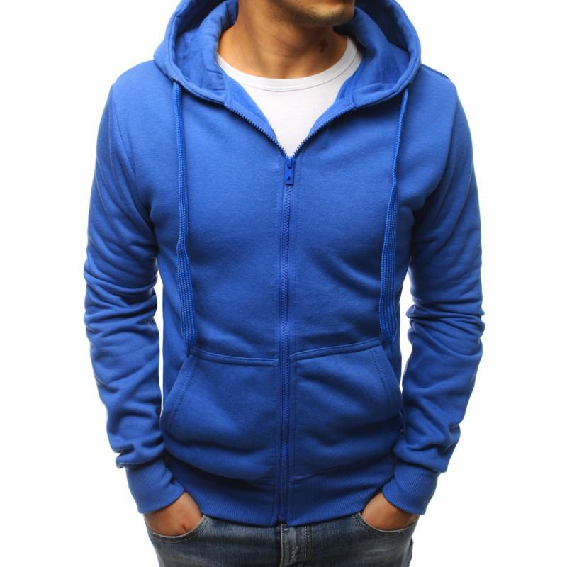 f51d931b533 Pánská sportovní modrá mikina na zip a s kapucí