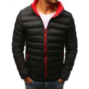 Pánská zimní prošívaná bunda v černé barvě s červeným zipem a futrem