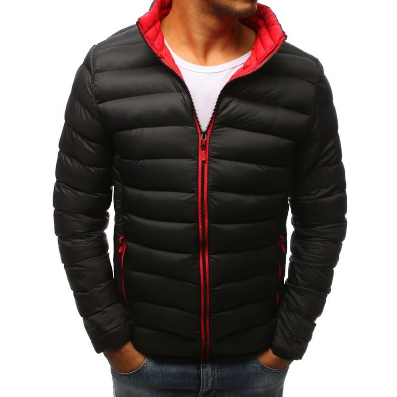 Pánská zimní prošívaná bunda v černé barvě s červeným zipem a futrem 5980422e48