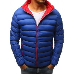 Pánská modrá zimní bunda s kontrastním červeným futrem a zipem