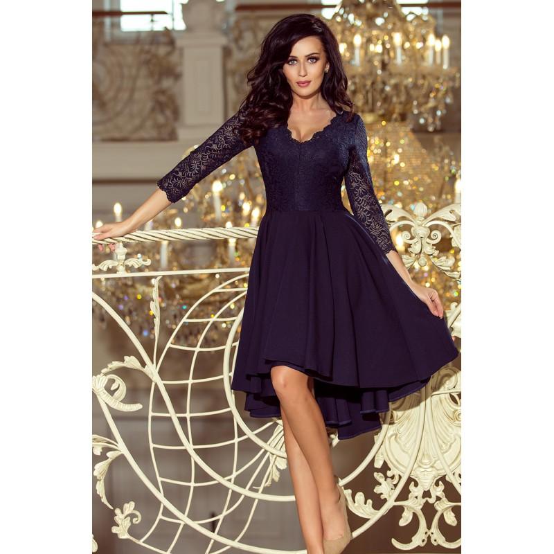b23d0bbbb55f Krátké plesové šaty v tmavě modré barvě