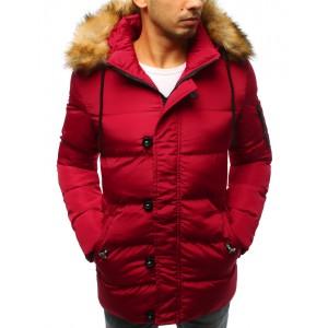 Pánská červená zimní bunda s kožešinou a zapínáním na knoflíky a zip