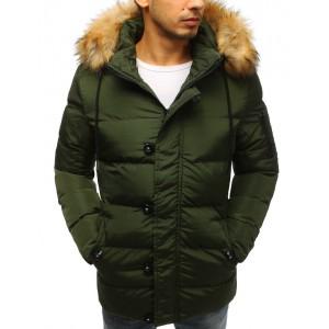 Zelená prošívaná pánská bunda na zimu se zapínáním na zip a knoflíky
