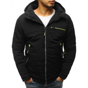 Moderní černá lyžařská pánská bunda s kapucí a neonovým designem