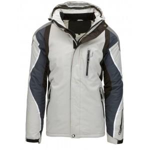 Trendy světle šedá pánská lyžařská bunda s kapucí a módními zipy
