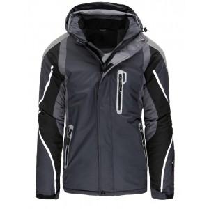 Stylová tmavě šedá pánská lyžařská bunda se zapínáním na zip a druky