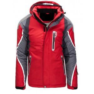Pánská červená snowbordová bunda s kapucí a se zapínáním na zip