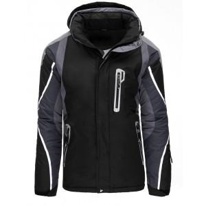 Černá pánská lyžařská bunda s kapucí kombinovaná s šedou barvou