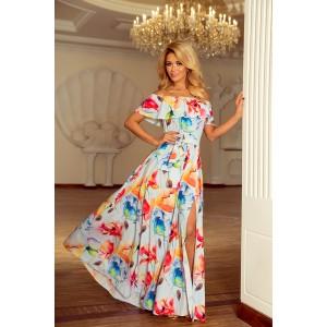 Plesové dlouhé šaty s motivem květů