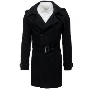 Elegantní černý pánský kabát s páskem a na dvouřadé zapínání