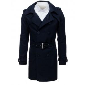 Stylový pánský kabát tmavě-modré barvy na dvouřadé zapínání