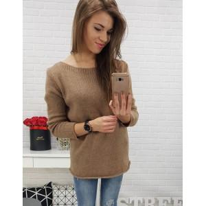 Pletený dámský svetr hnědé barvy