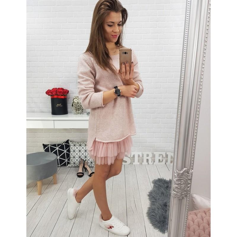 Krátký dámský pletený svetr v růžové barvě 7a89f73a9e