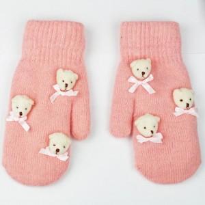 Růžové rukavice dámské s medvídky