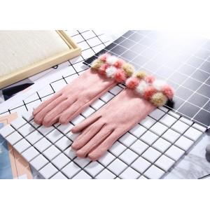 Dámské zateplené růžové rukavice s pomponmi