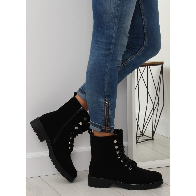 fa3d10065e38 Trendy dámské černé workery se zipem a módním designem vázání