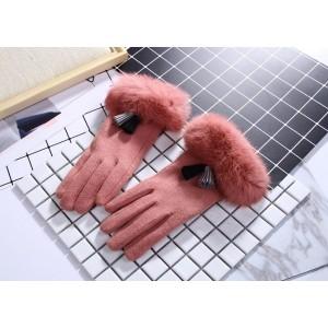 Růžové zimní dámské rukavice s kožešinou