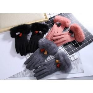 Šedé dámské rukavice s barevnými třásněmi