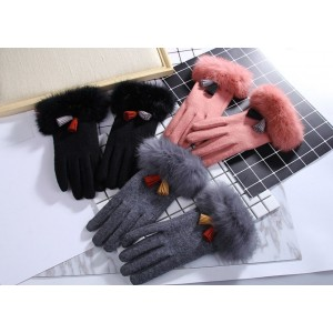 Zimní rukavice pro dámy v černé barvě s kožešinou