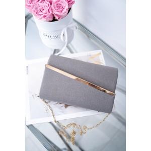 Listová dámská kabelka šedo-stříbrná se zlatou aplikací a řetízkem