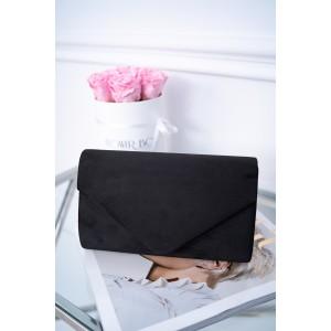 Černá sametová společenská kabelka do ruky se stříbrným řetízkem