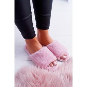 Růžové dámské pantofle s otevřenou špičkou