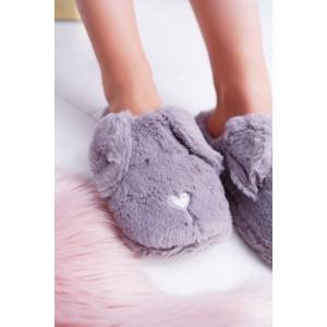 Originální dámské nasouvací šedé pantofle s motivem spícího pejska