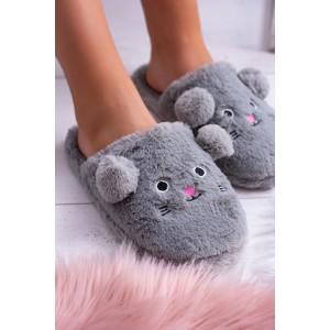 Dámské nasouvací papuče v šedé barvě s motivem myšky s ušima