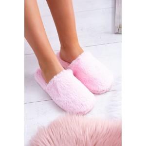 Růžové dámské chlupaté pantofle na doma