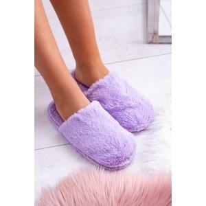 Teplé dámské nasouvací papuče v trendy fialové barvě