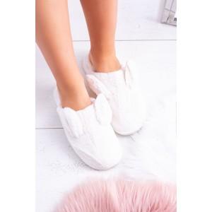 Originální bílé dámské nasouvací pantofle s oušky