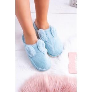 Modré chlupaté dámské pantofle s ozdobnými oušky