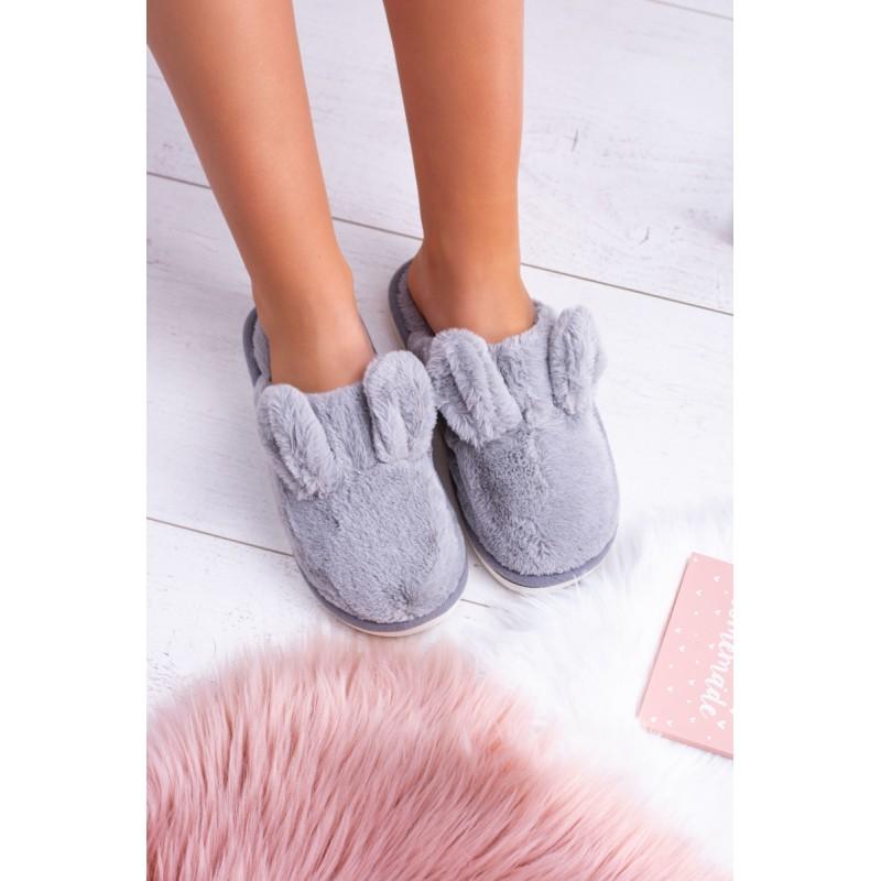 Dámské nasouvací teplé papuče v šedé barvě s ozdobnými oušky e05aefb8b44