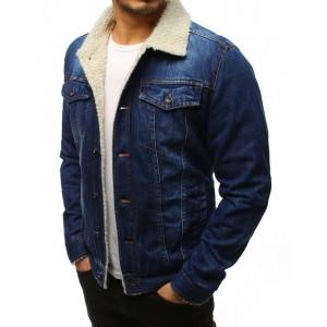 Pánská zateplená riflová bunda v modré barvě se zapínáním na druky