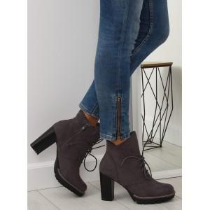 Šedé dámské kotníkové boty na platformě