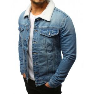 Zateplená pánská jeansová bunda s druky