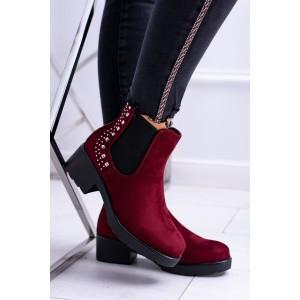 Dámské zimní kotníkové boty vínové barvy