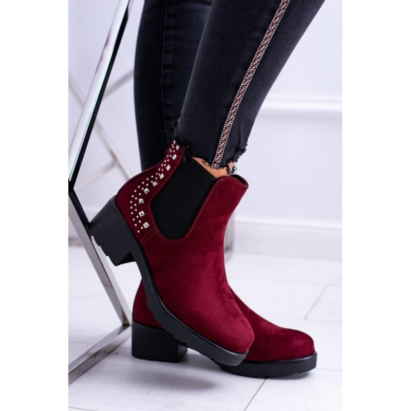 d052a25dde8 Dámské zimní kotníkové boty vínové barvy